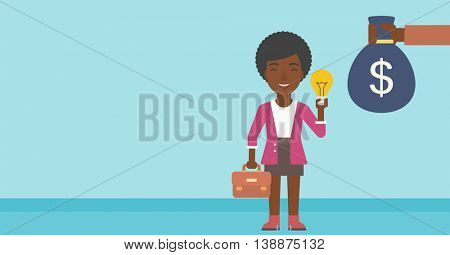 An african-american business woman with briefcase exchanging her idea bulb to money bag. Successful business idea concept. Vector flat design illustration. Horizontal layout.