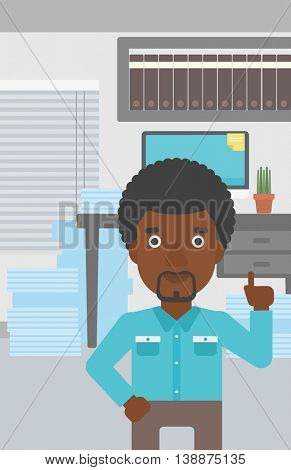 An african-american young businessman standing in the office and pointing up with his forefinger. Business idea concept. Vector flat design illustration. Vertical layout.