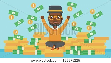 An african-american young businessman with raised hands sitting on golden coins and money flying around. Successful business concept. Vector flat design illustration. Horizontal layout.