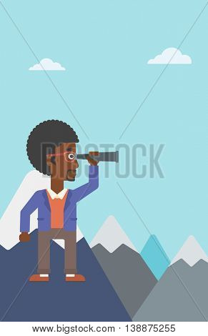 An african-american businessman standing on the top of mountain with spyglass. Businessman looking for success, opportunities. Vector flat design illustration. Vertical layout.