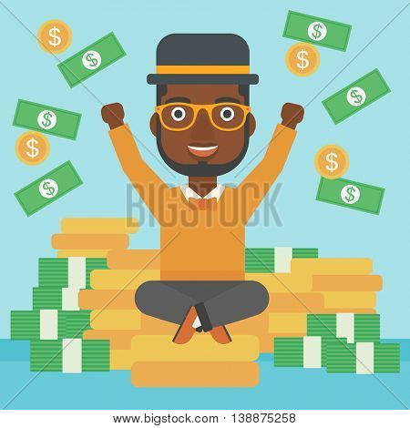 An african-american young businessman with raised hands sitting on golden coins and money flying around. Successful business concept. Vector flat design illustration. Square layout.