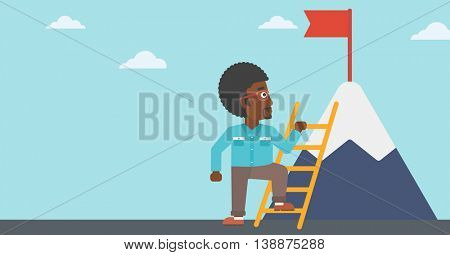 An african-american young businessman standing with ladder near the mountain. Businessman climbing the mountain with a red flag on the top. Vector flat design illustration. Horizontal layout.