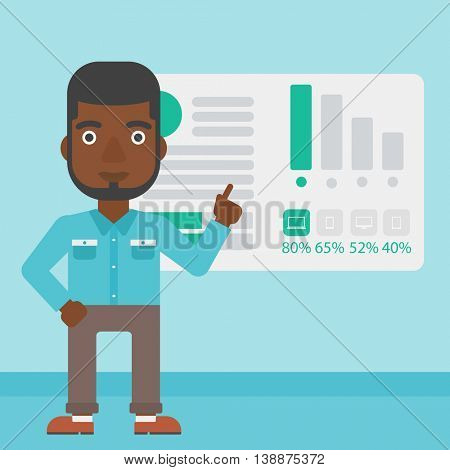 An african businessman pointing at charts on a board during business presentation. Man giving business presentation. Business presentation in progress. Vector flat design illustration. Square layout.