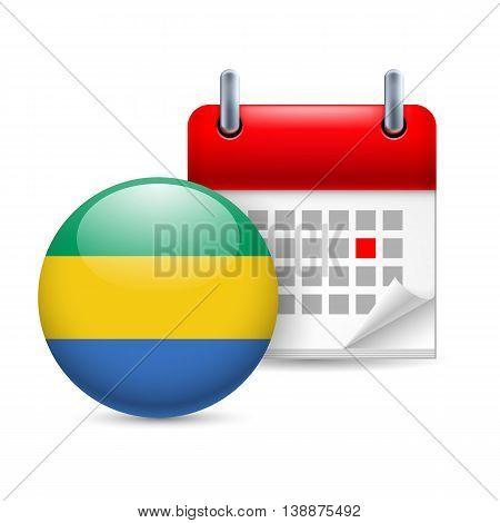 Calendar and round Gabonese flag icon. National holiday in Gabon