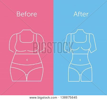 Illustration of a fat and slim woman figure. Before and after diet. Thin line icons. Flat style design