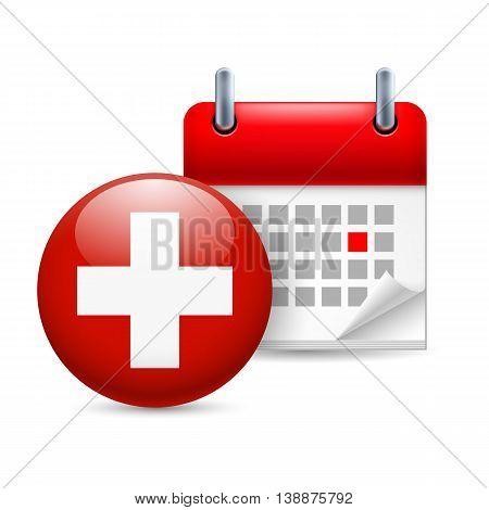 Calendar and round Swiss flag icon. National holiday in Switzerland