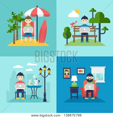 Freelancer Concept. Working On The Beach, In Coffee Shop, In The Park And At Home. Isolated Vector I