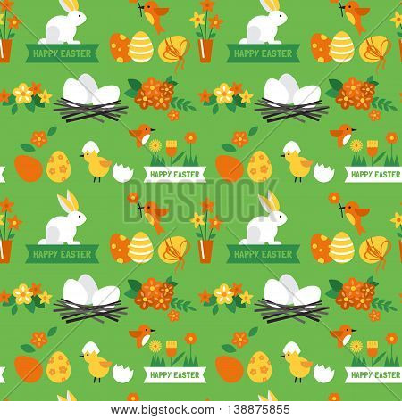 Easter Holiday Background Seamless Pattern With Easter Bunny And Eggs. Vector Illustration
