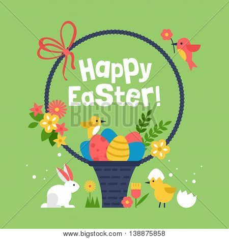 Easter Holiday Basket With Eggs And Easter Bunny. Creative Easter Background. Vector Illustration