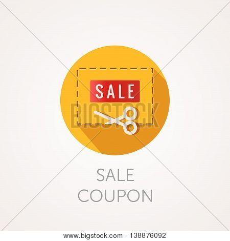 Discount Coupon Icon. Scissors and frame. Flat style design