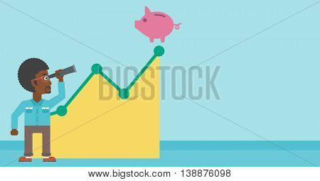 An african-american young businessman looking through spyglass at a piggy bank standing at the top of growth graph. Vector flat design illustration. Horizontal layout.