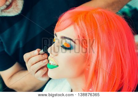 Sexy Girl With Bright Makeup