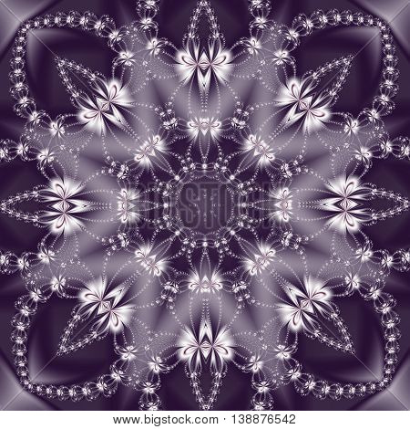 Beautiful purple and white background with floral circle ornament. You can use it for invitations notebook covers phone cases postcards cards ceramics carpets and so on. Artwork for creative design art and entertainment.