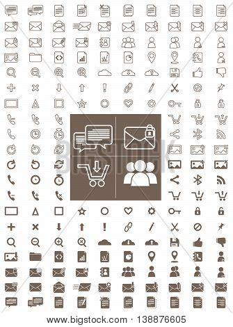 Messaging and Communication Line and Flat Vector Icon Pack