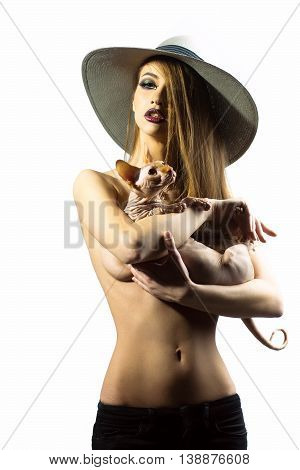 young sexy naked woman with bright makeup on pretty face and with body in round hat holding purebreed pet cat of sphinx with no hair and wrinkled skin in studio isolated on white background