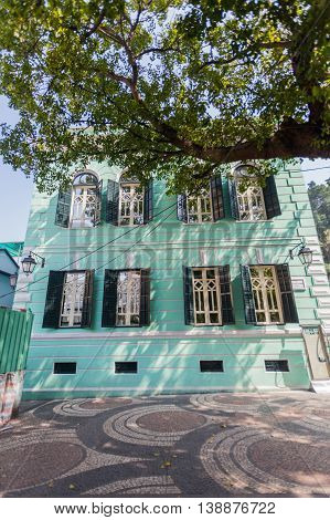 Taipa, Macau - February 2, 2015: Taipa Old Village - The historical part of Taipa is best preserved in this village in the south of the district.  An intricate warren of alleys hold traditional Chinese shops and some excellent restaurants, while the broad