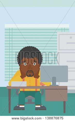 An african-american tired businessman sitting at workplace in front of computer monitor and clutching his head. Vector flat design illustration. Vertical layout.