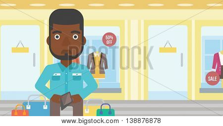 An african-american young man showing his wallet purse on the background of showcase of a store. Vector flat design illustration. Horizontal layout.