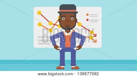 An african-american businessman showing his epmty pockets on the background of board with decreasing chart. Bankruptcy concept. Vector flat design illustration. Horizontal layout.