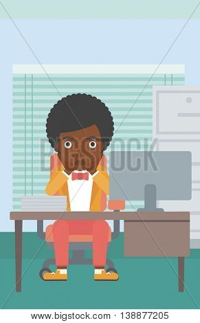 An african-american business woman sitting at workplace in front of computer monitor and clutching her head. Vector flat design illustration. Vertical layout.
