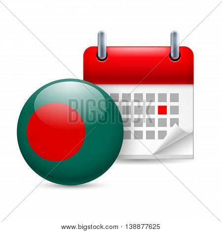 Calendar and round Bangladeshi flag icon. National holiday in Bangladesh