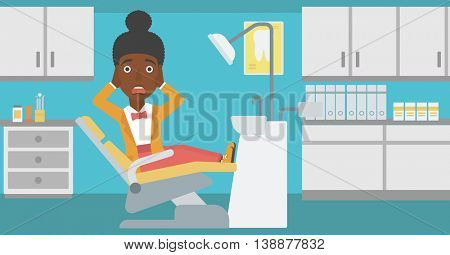 An african-american young frightened female patient sitting in dental chair at dentist office.Vector flat design illustration. Horizontal layout.