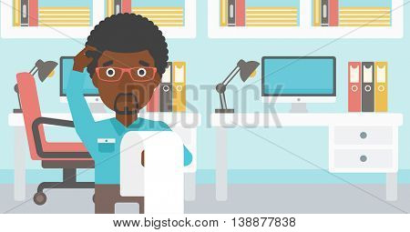 An african-american worried businessman standing in the office and holding a long bill. Concept of business bankruptcy. Vector flat design illustration. Horizontal layout.