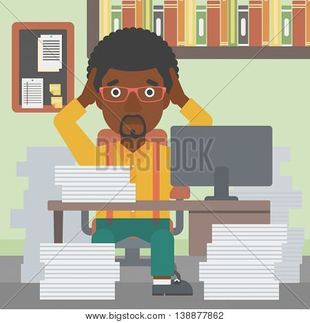 An african-american businessman in despair sitting at workplace with heaps of papers and clutching his head. Vector flat design illustration. Square layout.