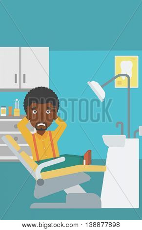 An african-american young frightened patient sitting in dental chair at dentist office. Vector flat design illustration. Vertical layout.