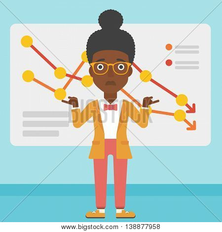 An african-american business woman standing on the background of a board with decreasing chart. Concept of business bankruptcy. Vector flat design illustration. Square layout.