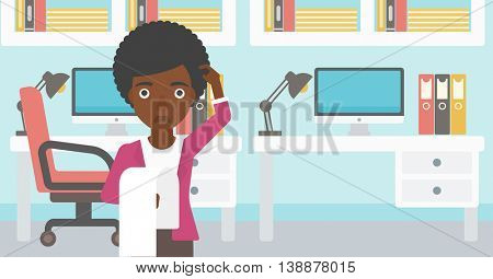 An african-american business woman standing in the office and holding a long bill. Concept of business bankruptcy. Vector flat design illustration. Horizontal layout.