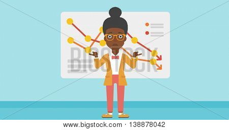 An african-american business woman standing on the background of a board with decreasing chart. Concept of business bankruptcy. Vector flat design illustration. Horizontal layout.