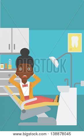An african-american young frightened female patient sitting in dental chair at dentist office.Vector flat design illustration. Vertical layout.