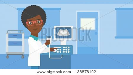 An african-american young female doctor working on modern ultrasound equipment and holding scanner in hand at medical office. Vector flat design illustration. Horizontal layout.