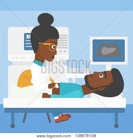 An african-american young female doctor examining internal organs of a male patient on the modern ultrasound equipment at medical office. Vector flat design illustration. Square layout.