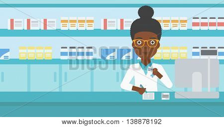 An african-american young female pharmacist in medical gown standing at pharmacy counter, writing on clipboard and holding prescription in hand. Vector flat design illustration. Horizontal layout.