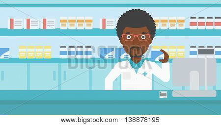 An african-american young pharmacist standing at the counter and showing a box of pills in the pharmacy. Vector flat design illustration. Horizontal layout.