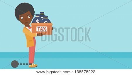 Chained to a large ball an african-american business woman carrying heavy box with bags full of taxes. Vector flat design illustration. Horizontal layout.