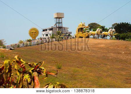 Golden Carriage Drawn By Horses. Murudeshwar. Temple In Karnataka, India