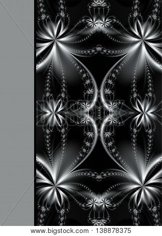 Design of beautiful flower ornamental notebook cover in black and white
