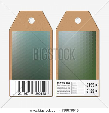 Tags on both sides, cardboard sale labels with barcode. Blurred polygonal design, geometric hexagonal background.