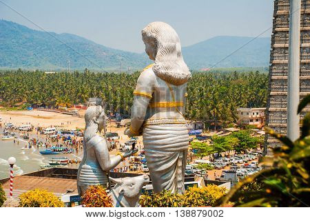 Statue Of Lord Shiva In Murudeshwar. Temple In Karnataka, India