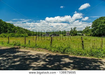 A view of an abandoned farm in the foothills of the Blue Ridge Mountains in Franklin County Virginia
