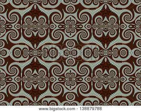 Symmetrical Pattern from Spiral fractal. Gray and brown palette. Computer generated graphics. red and white
