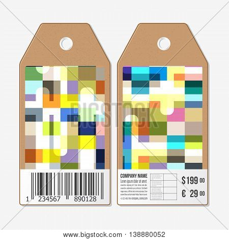 Vector tags design on both sides, cardboard sale labels with barcode. Abstract colorful business background, modern stylish vector texture.