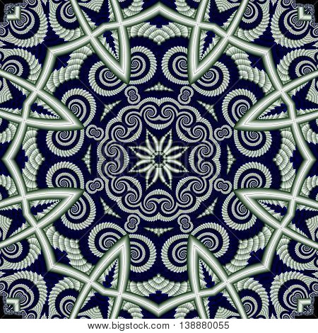 Abstract openwork background with circle ornament. You can use it for invitations carpets covers phone cases postcards cards lacy napkin. Artwork for creative design. blue and white