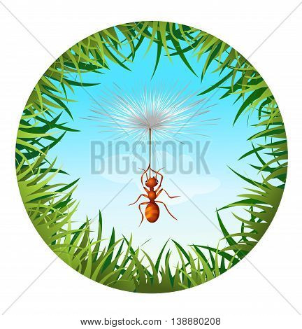 Insects and summer nature icon. ant in the sky holding the dandelion