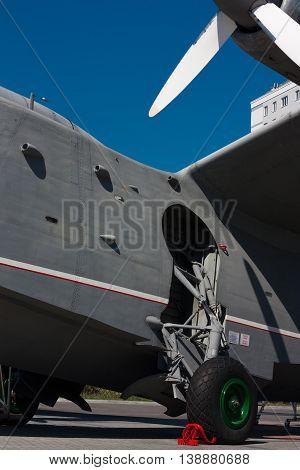 KALININGRAD RUSSIA - June 19: Museum of World oceanoutdoor exposition The aircraft-ship BE-12 on June 19 2016 in Kaliningrad Russia