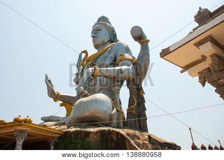 Statue Of Lord Shiva In Murudeshwar. Temple In Karnataka, India