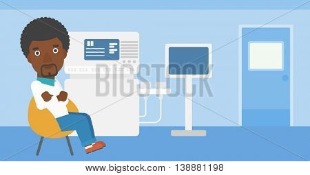 An african-american male ultrasound doctor sitting with arms crossed near modern ultrasound equipment at medical office. Vector flat design illustration. Horizontal layout.